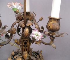 Bronze Bouillotte Lamp with Porcelain Flowers