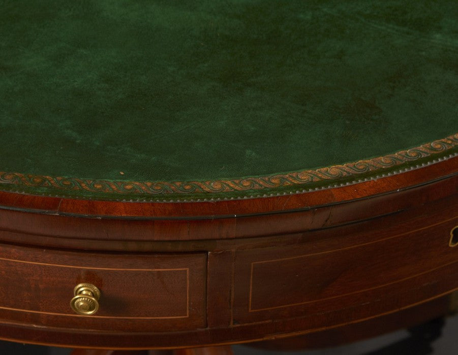 Regency Mahogany Leather Top Drum Table