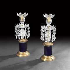 Pair of English Cobalt and Cut Glass Candlesticks