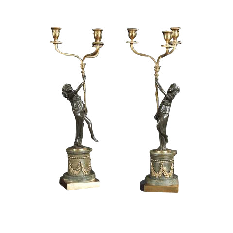 Pair of Louis XVI Bronze Figural Candelabra
