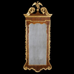 Large George II Mahogany and Gilt Scroll Top Mirror