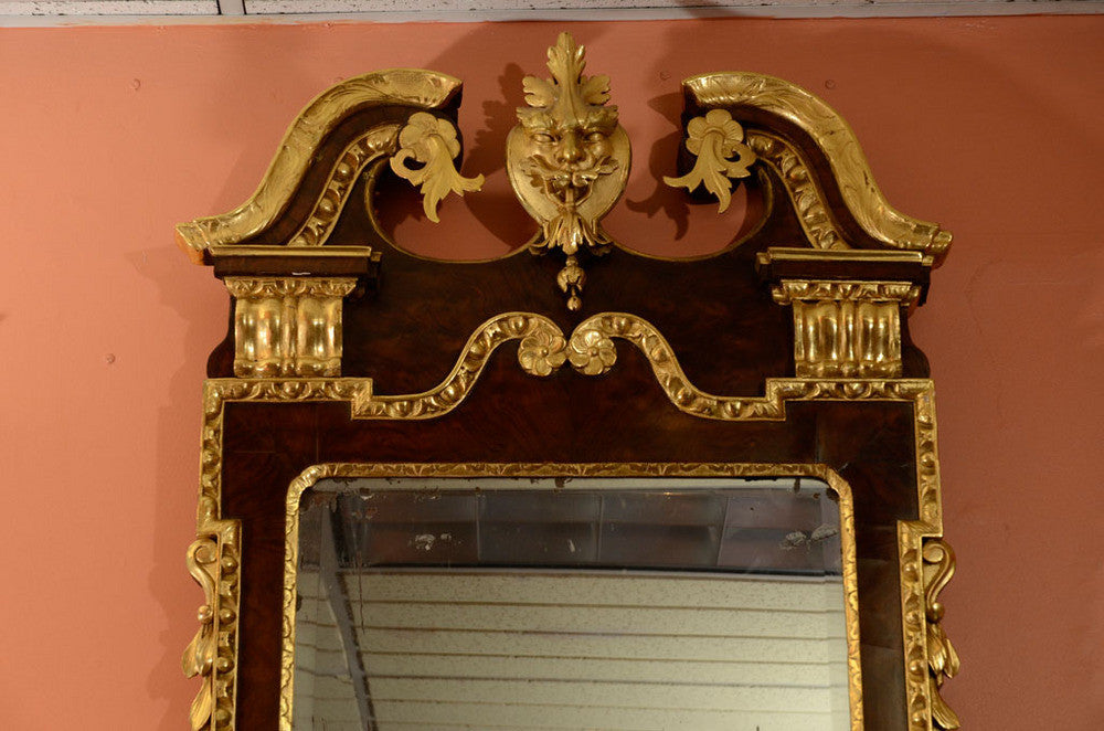 George II Walnut and Gilt Scroll Top Mirror