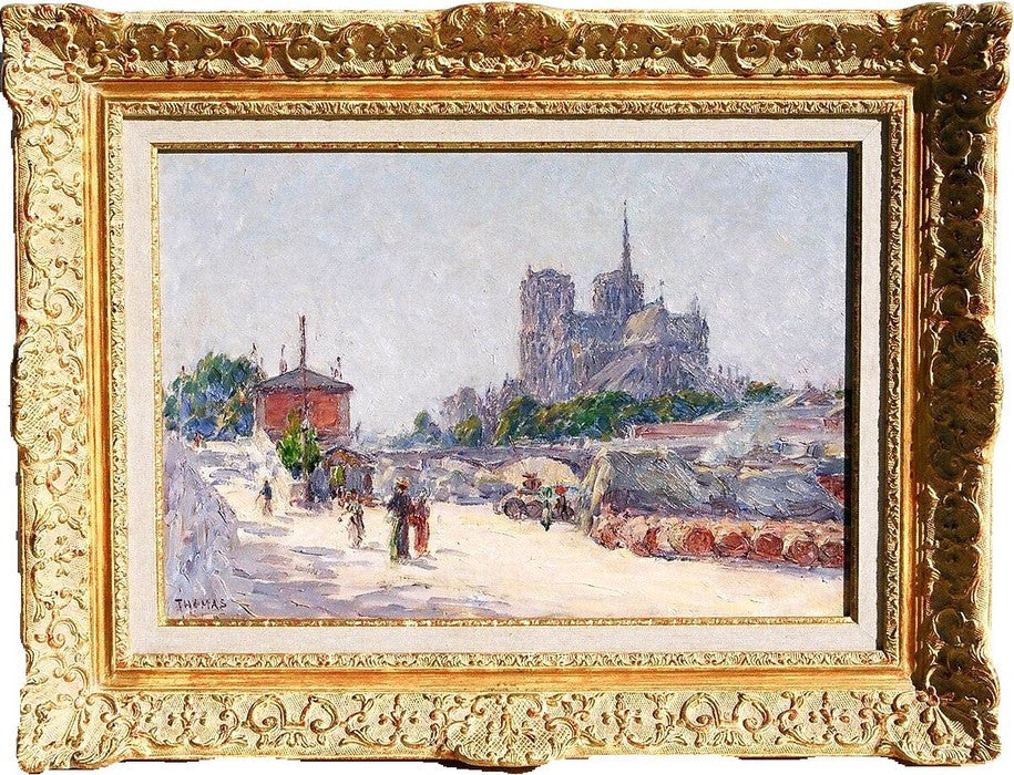 Paul THOMAS (French – 1868-1910) Vue de Notre-Dame du Quai de La Tournelle, Paris