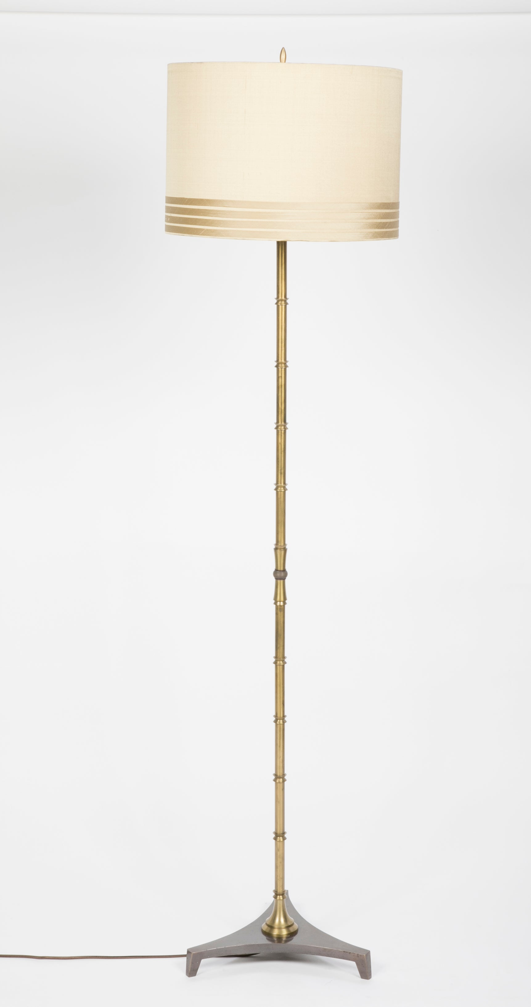 A Machined Bronze Faux Bamboo Inspired Floor lamp