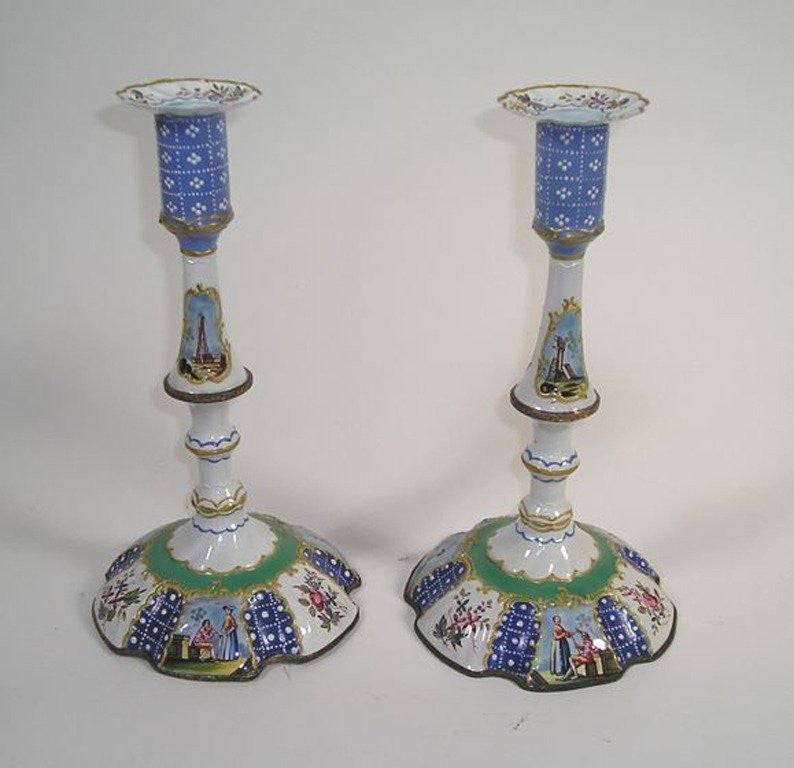 Pair of Battersea Enamel Candlesticks