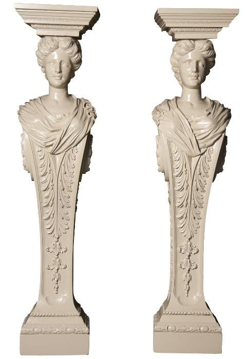 Pair Carved Wood Pedestals