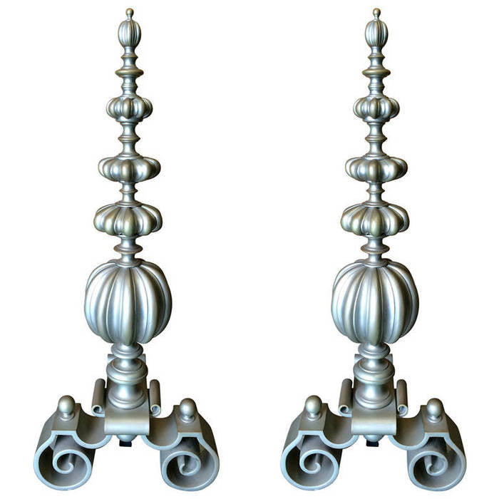 A Pair of Large Scale Baroque Style Andirons