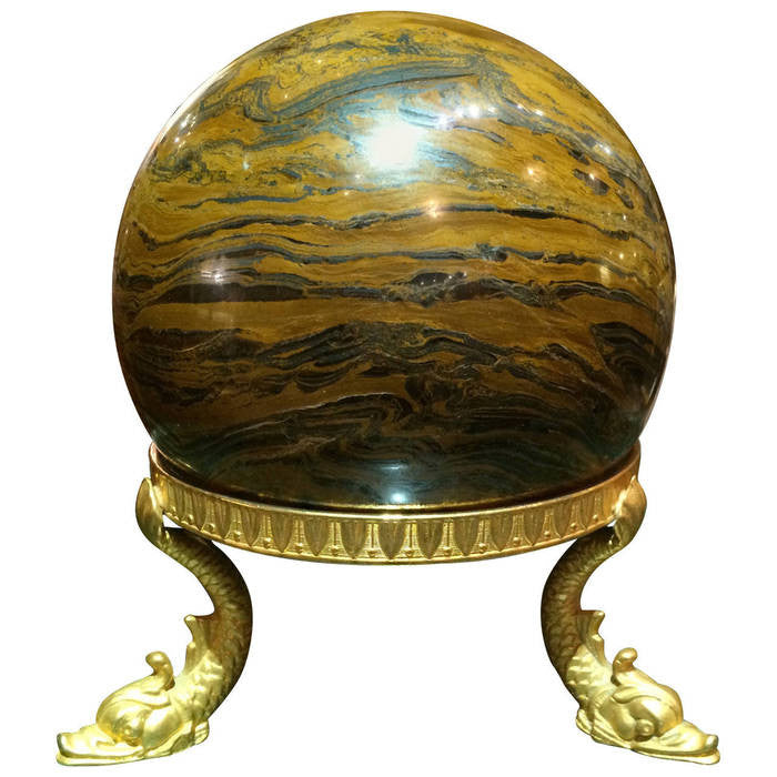 Large Marble Orb on Empire Bronze Stand