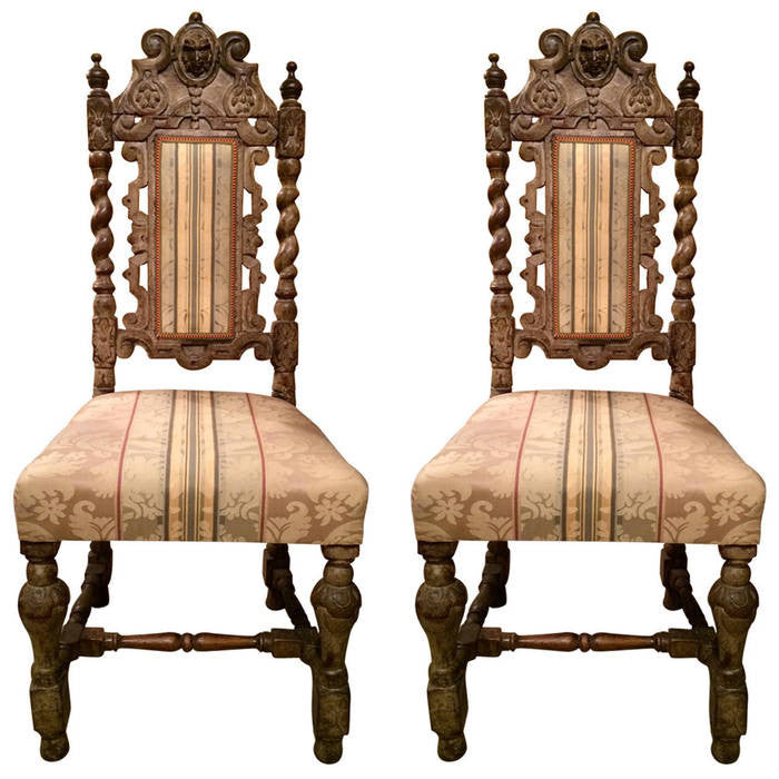 Pair 17th Century English Hall Chairs