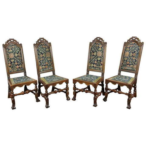 Four Queen Anne Walnut and Needlepoint Side Chairs
