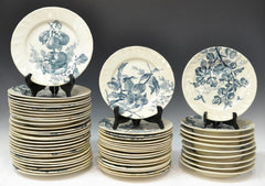 French Creil Earthenware Faience Plates Set