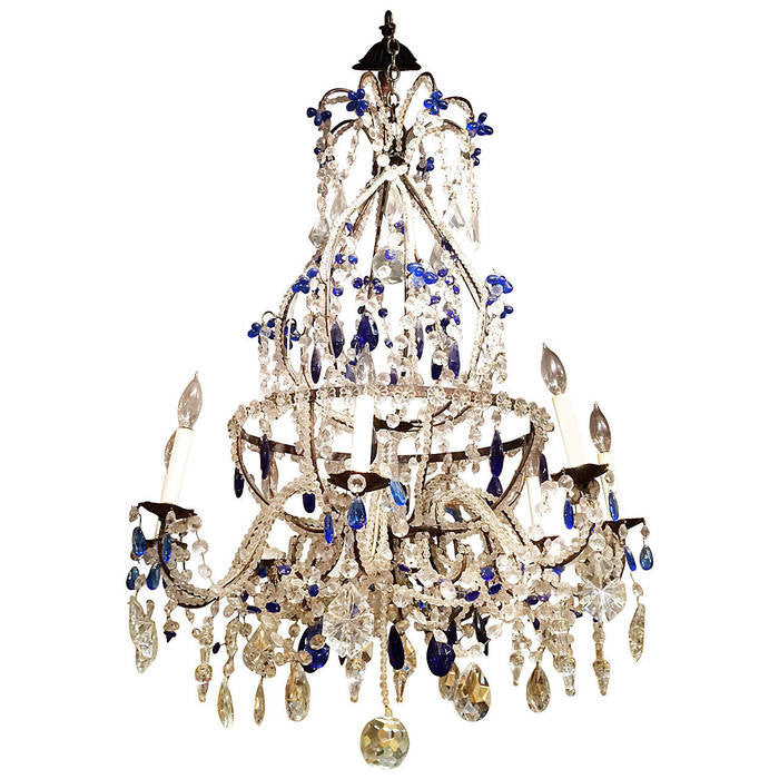 Venetian crystal and cobalt blue chandelier avery dash collections venetian crystal and cobalt blue chandelier aloadofball Images