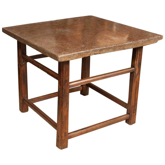 Square Stone-Topped Elmwood Table