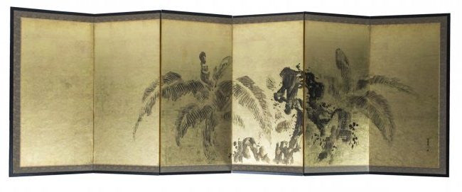 Japanese Silk and Paper Screen 6-Panel