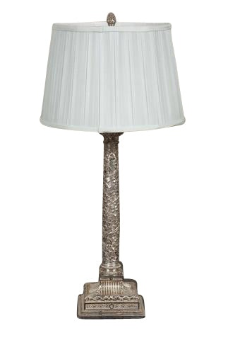 Repousse Silver Plate Lamp