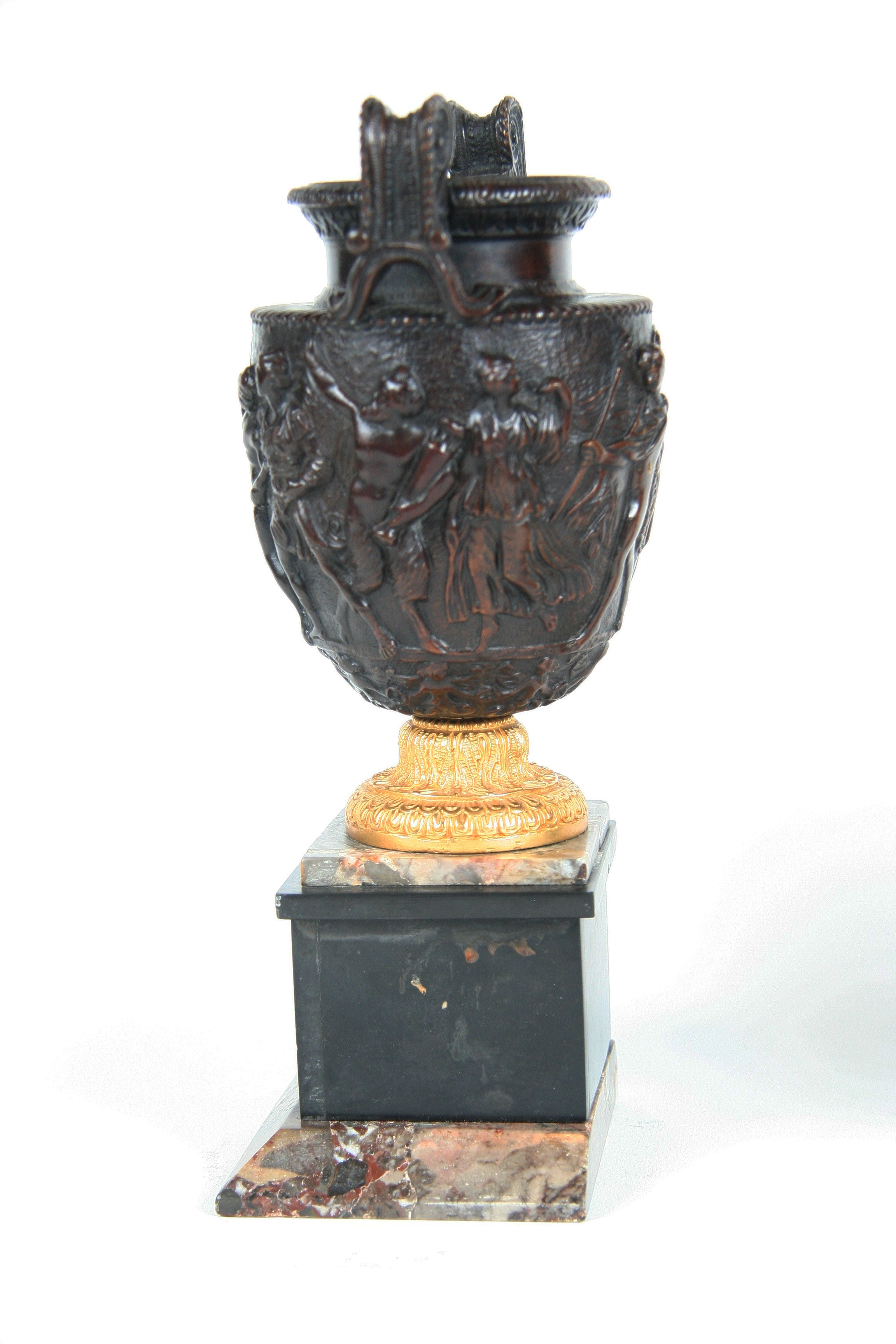A Pair of Bronze and Marble Townley Vases