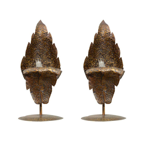 1940's Bronze Leaf Accent Lamps by Gerhard Ebert