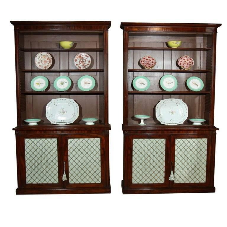 Near Pair of English Mahogany Bookcases