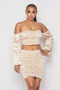Satin Off Shoulder Crop Top & Ruched Skirt Set