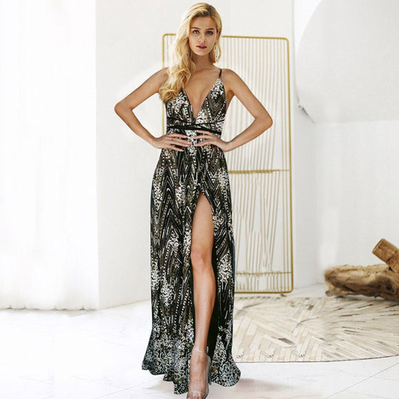 Deep V-neck Side Slit floral Print Maxi Dress