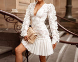 Lace Long Sleeve Pleated Dress
