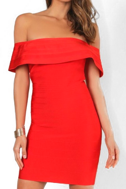 Celia Bandage Dress in Red
