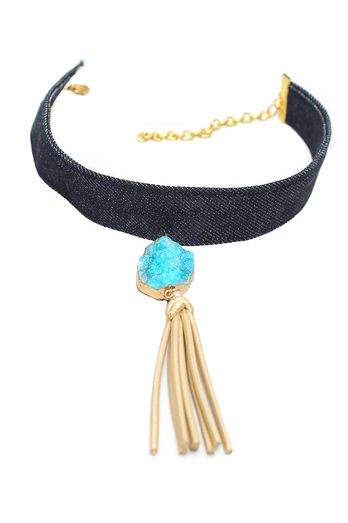 blue kOkO White Quartz Choker Aqua - Preciosa Boutique