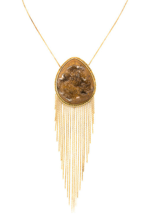 Mikaela Druzzy Stone Necklace in Brown - Preciosa Boutique