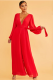 Pleated Leg Long Sleeves Jumpsuit