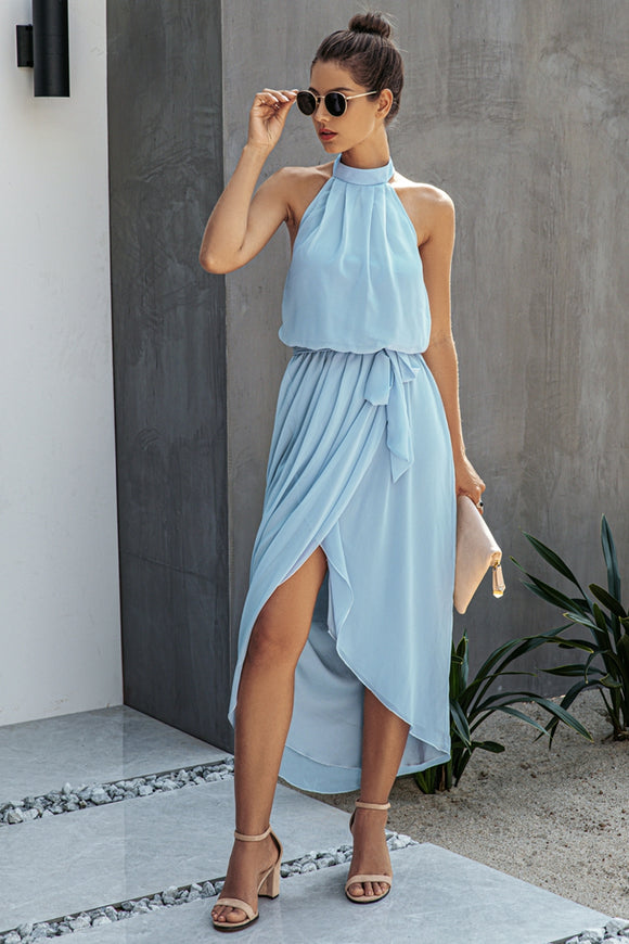 Halter Neck Split Dress