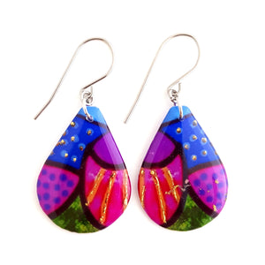 Large teardrop dangles - coral reef