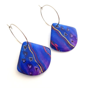 Hoop Earrings | Purple Blue Hearts
