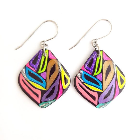Rainbow Leaf Drop Earrings | Zebra