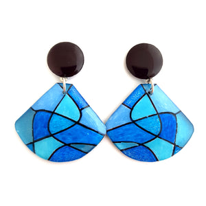 Stud drop earrings- shell abstract blues
