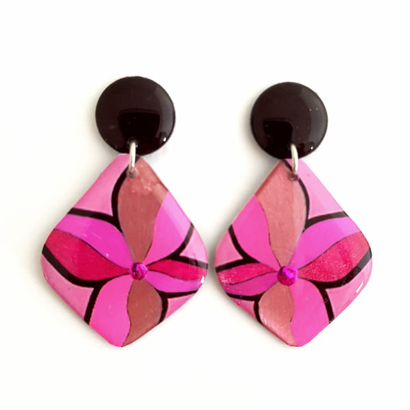 Stud Drop Earrings  - Leaf tropicana pink