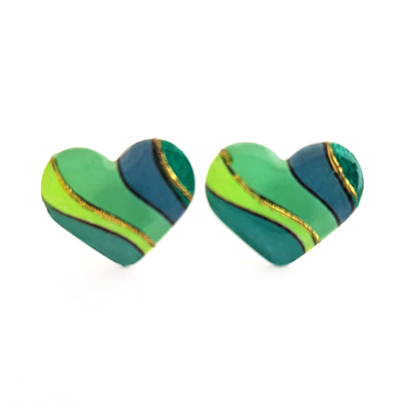 Medium Studs - green heart
