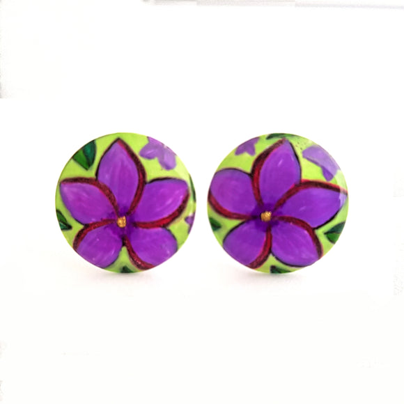 Medium  Studs - round purple frangipani