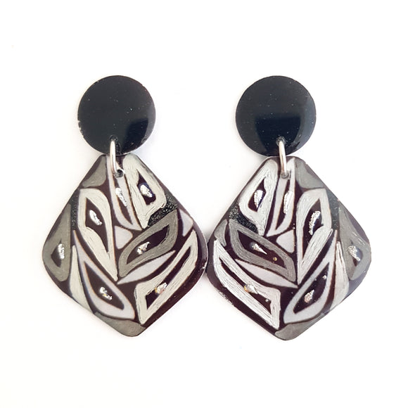 Black Silver Zebra Stud Drop Earrings
