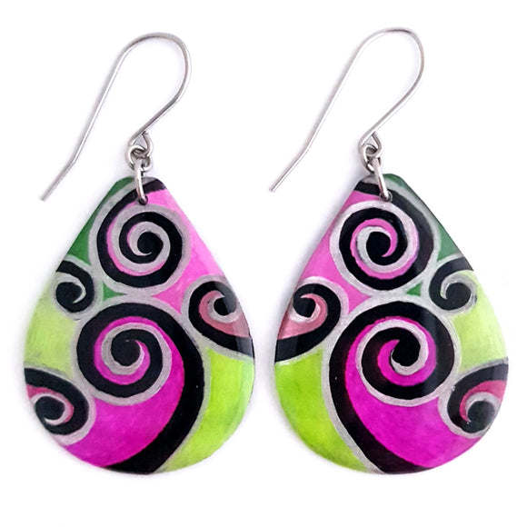 Ex Large Teardrop Dangles - Magenta & Lime Swirls