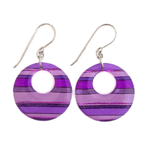 Circle Dangles - Horizontal Stripes Purple