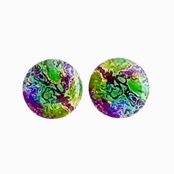 Large Round Studs - Green Purple Pour