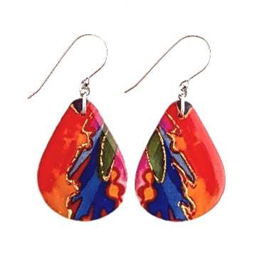 Large Teardrop Earrings - Fire & Ice