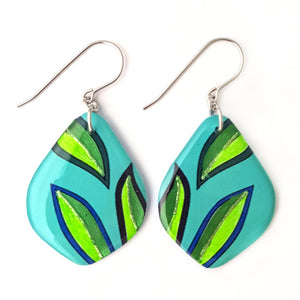 Blue Green Leaf Earrings  | Feather