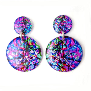 Purple Round Stud Drop Earrings | Confetti