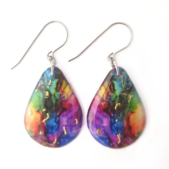 Rainbow Teardrop Earrings | Gold Flecks