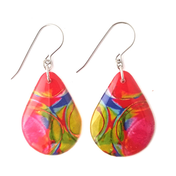 Coral Red Green Teardrop Earrings