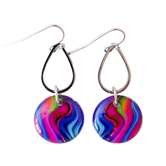 Small Round Rainbow Drop Earrings | Groovy Baby