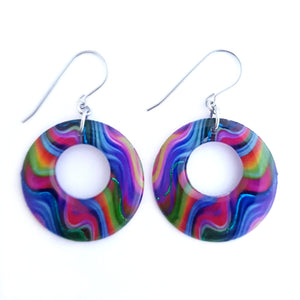 Rainbow Circle Drop Earrings | Groovy Baby