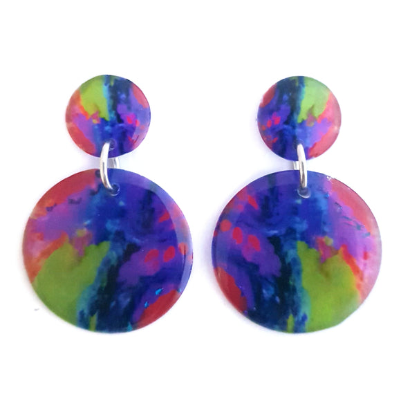 Rainbow Circle Stud Drop Earrings | Resin Pour 1