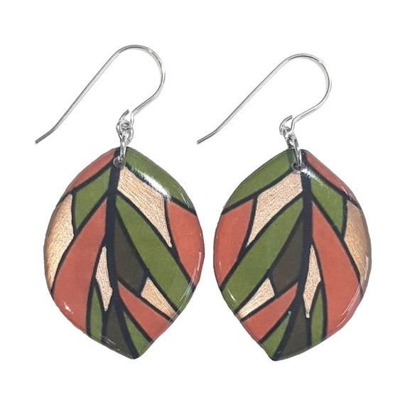 Amber Green  Leaf Drop Earrings | Autumn